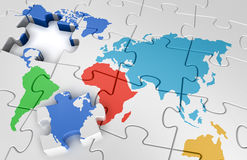 Puzzle world map. 3d image of Jigsaw puzzle concept Stock Image