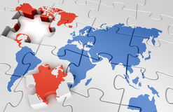 Puzzle world map Stock Photo