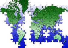 Puzzle world map Stock Photography