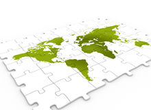 Puzzle world map green stock image