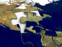 Puzzle World Map US. 3d rendered image of a jigsaw-puzzle of the world, USA in focus. high quality stock illustration