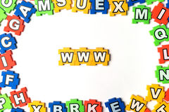 Puzzle www on white background. Closeup Royalty Free Stock Image