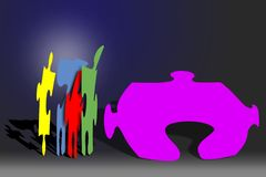 Puzzled. Different puzzle pieces stock illustration