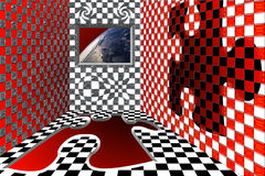Room with view on Earth. A virtual room with a window with a view on the earth from the space Royalty Free Illustration