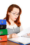 Puzzled business woman in glasses  Royalty Free Stock Images