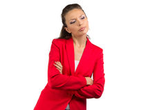Puzzled business woman looking down Stock Photo