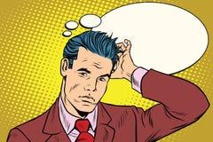 Puzzled businessman business people. Pop art retro vector illustration drawing stock illustration