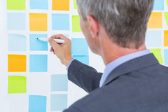 Puzzled businessman looking post its on the wall. In the office Royalty Free Stock Photography