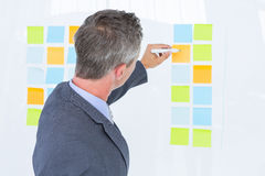 Puzzled businessman looking post its on the wall Royalty Free Stock Photos