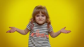 Free Puzzled Clueless Uncertain Blonde Kid Child Raising Hands In Helpless Gesture, Difficult Question Royalty Free Stock Photography - 217383997