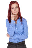 Puzzled, confused redhead businesswoman, isolated. Puzzled, confused attractive redhead businesswoman, isolated on white Royalty Free Stock Photos