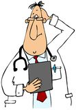Puzzled Doctor. This illustration depicts a doctor wearing a lab coat looking at a clipboard and scratching his head Stock Photography