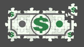 Puzzled Dollar Bill. Symbolic Dollar Bill as a fragment of a jigsaw puzzle Stock Photos