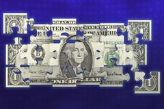 Puzzled dollar bill Royalty Free Stock Photo
