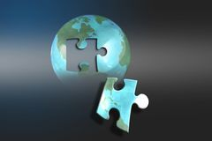 Puzzled Earth. Puzzle piece royalty free illustration