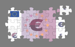 Puzzled Euro Banknote. Symbolic Euro banknote as a fragment of a jigsaw puzzle stock illustration