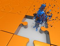 Puzzled man, 3d shattered man inside big jigsaw puzzles Royalty Free Stock Photo