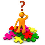 Puzzled man on jigsaw pieces. 3d illustration of person on pile of jigsaw pieces with question mark over head, isolated on white background Stock Photos