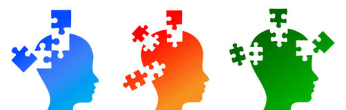 Puzzled mind. Missing Pieces of mental puzzle concept Royalty Free Stock Photos