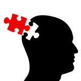 Puzzled mind. Trying to put the piece together and finding solutions royalty free illustration