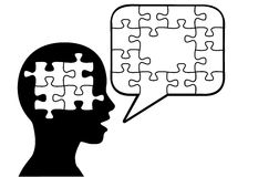 Puzzled person talk puzzle pieces speech bubble. A puzzled silhouette person says a solution in jigsaw puzzle pieces in speech bubble copyspace Stock Photos