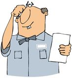 Puzzled serviceman. This illustration depicts a man in a service uniform scratching his head while reading a paper Stock Image