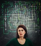 Mess question maze royalty free stock photography