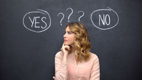Free Puzzled Woman Choosing Between Yes No, Stereotype Of Uncertain Female Thinking Royalty Free Stock Photo - 160850755