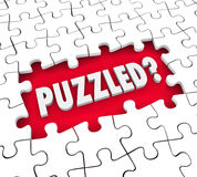 Puzzled Word Pieces Hole Confusion Lost Stumped Royalty Free Stock Photos