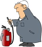 Puzzled Worker With A Fire Extinguisher Royalty Free Stock Photo