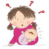 Puzzled young mother holding her crying baby girl. What to do?. Why it is crying? Original hand drawn illustration royalty free illustration