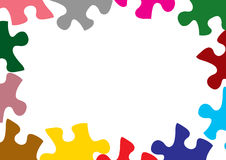 Puzzles. Multi colour puzzle pieces on white background Stock Photography