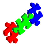 Puzzles. Rgb puzzle pieces on white background Royalty Free Stock Images
