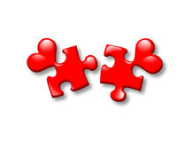 Puzzles. Hearts on a separate white background Stock Images