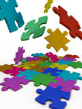Puzzles color. Color puzzles on a white background Royalty Free Stock Image