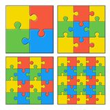 Puzzles. Colored details 4, 9, 16 and 25 pieces jigsaw vector illustration vector illustration