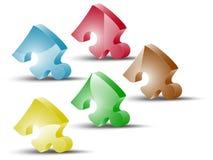 puzzles 3D de différentes couleurs Photographie stock libre de droits
