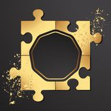 Puzzles d'or sur un fond noir, dispersion du sable d'or illustration stock