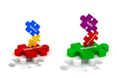 Puzzles de construction et d'Internet Images stock
