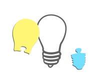 Puzzles de forme d'ampoule de deux morceaux denteux Photo stock