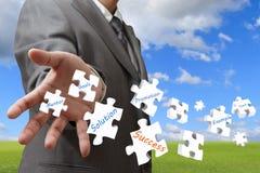 Puzzles de jet d'homme d'affaires Photo stock