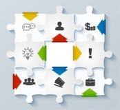 Puzzles de pièces avec des icônes. Concept d'affaires, infogr Photos libres de droits