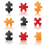 Puzzles details. Colorful puzzles details over white background stock illustration