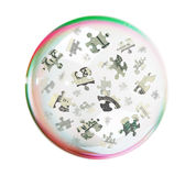 Puzzles of the dollar into big  bubble Royalty Free Stock Image