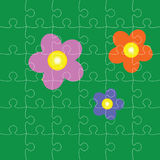 Puzzles with flowers  illustration Stock Image