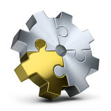 Puzzles gear. Gear of jigsaw puzzles. 3d image. Isolated white background Royalty Free Stock Photo