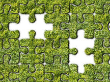 Puzzles from grass on white background Stock Photo