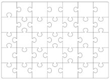 Puzzles grid template. Jigsaw puzzle 24 pieces stock illustration