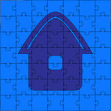 Puzzles - the house. Puzzles - the blue house. Vector illustration Royalty Free Stock Photo