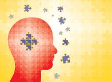 Puzzles In Human Head - Man Finding Solution Stock Photography